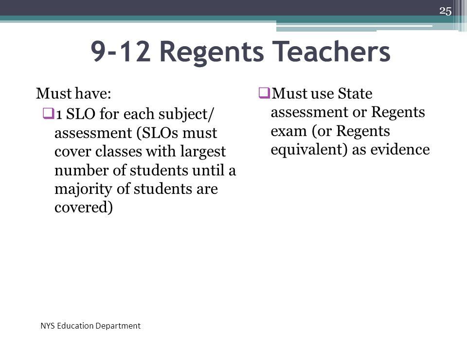 9-12 Regents Teachers Must have: