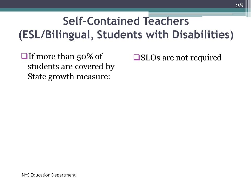 Self-Contained Teachers (ESL/Bilingual, Students with Disabilities)