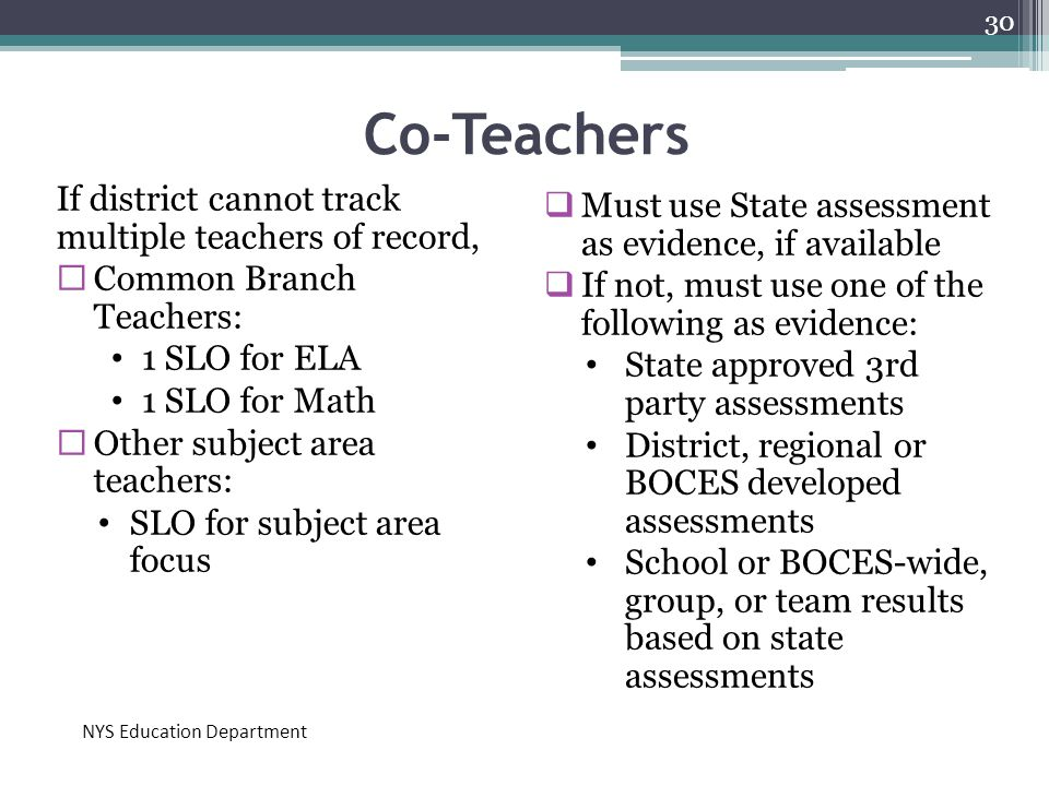 Co-Teachers If district cannot track multiple teachers of record,