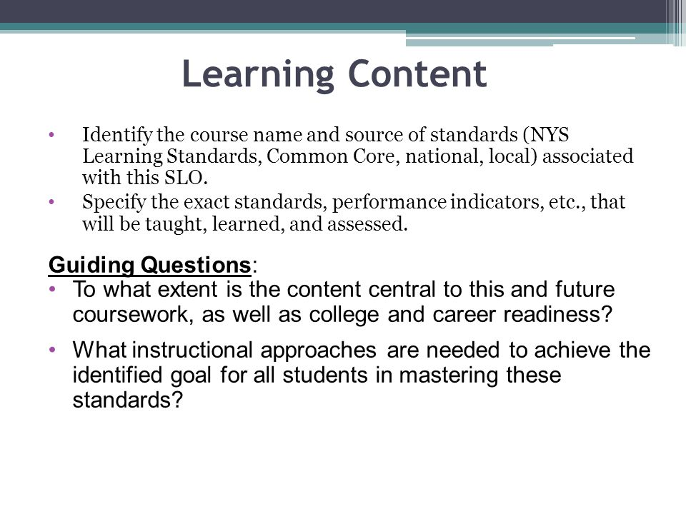 Learning Content Guiding Questions: