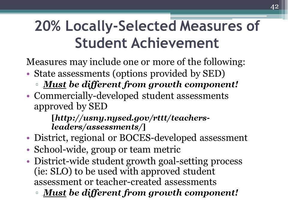 20% Locally-Selected Measures of Student Achievement
