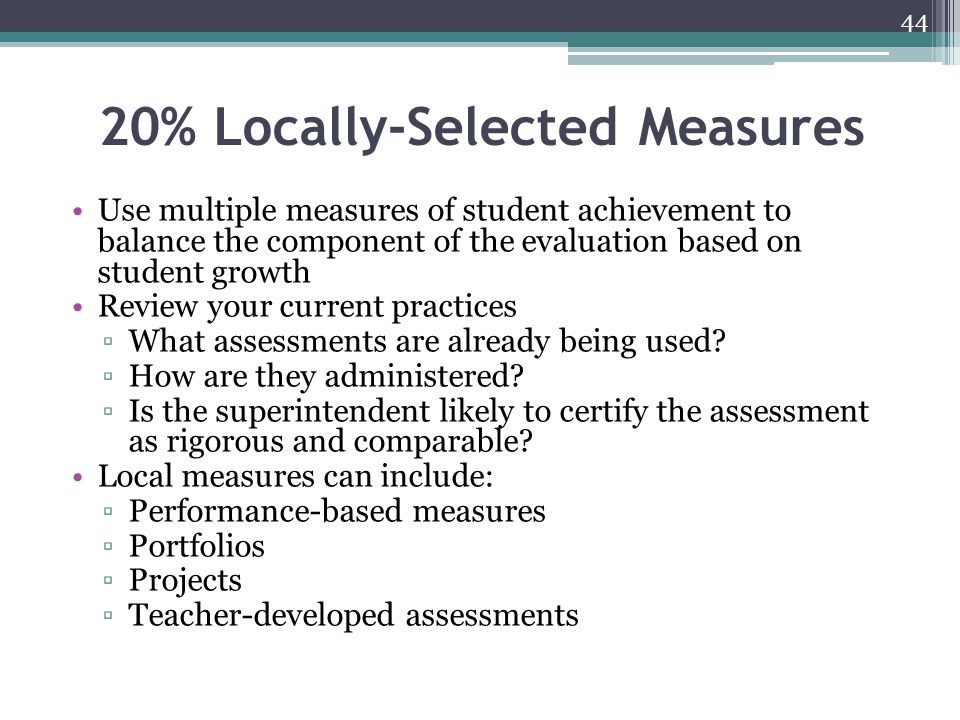 20% Locally-Selected Measures