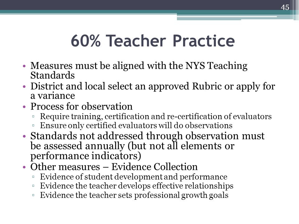 60% Teacher Practice Measures must be aligned with the NYS Teaching Standards.