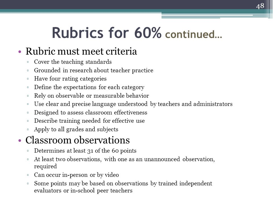 Rubrics for 60% continued…