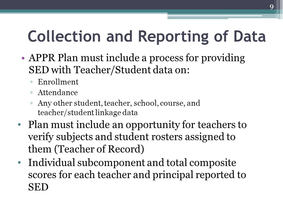 Collection and Reporting of Data
