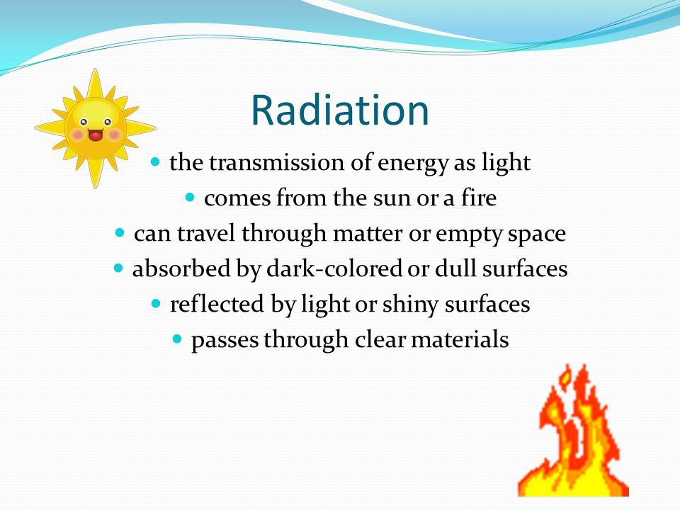 Radiation the transmission of energy as light
