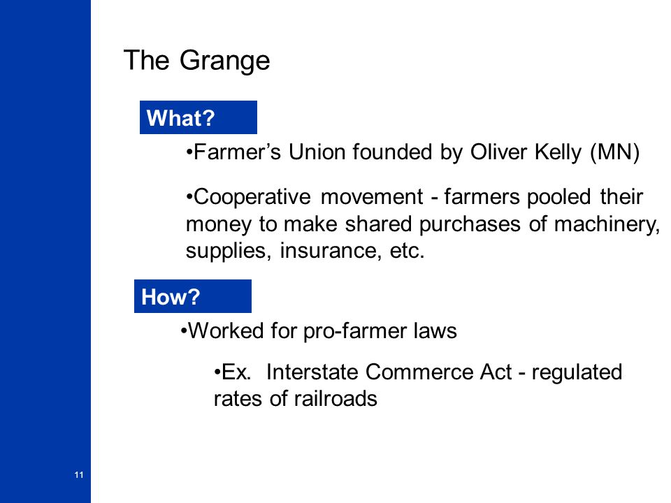 The Grange What Farmer's Union founded by Oliver Kelly (MN)