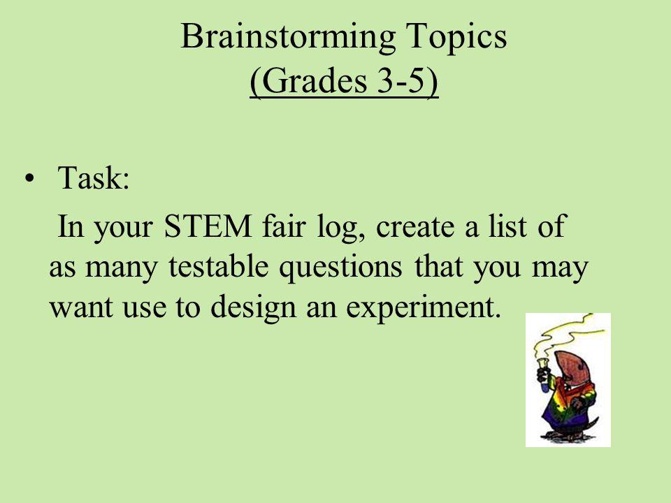 Brainstorming Topics (Grades 3-5)