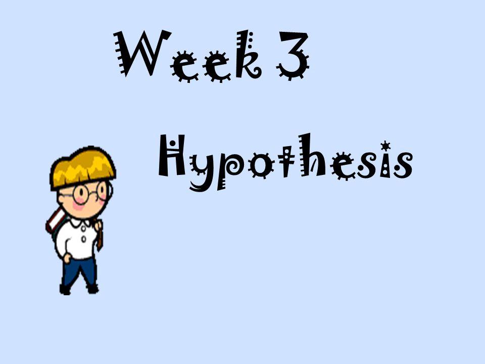 Week 3 Hypothesis