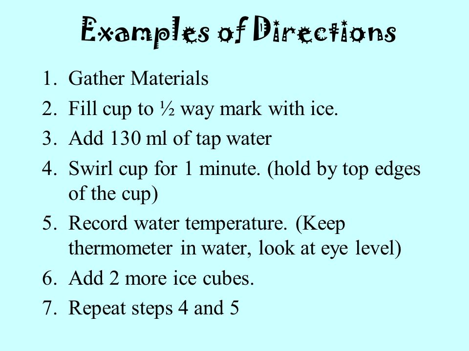 Examples of Directions