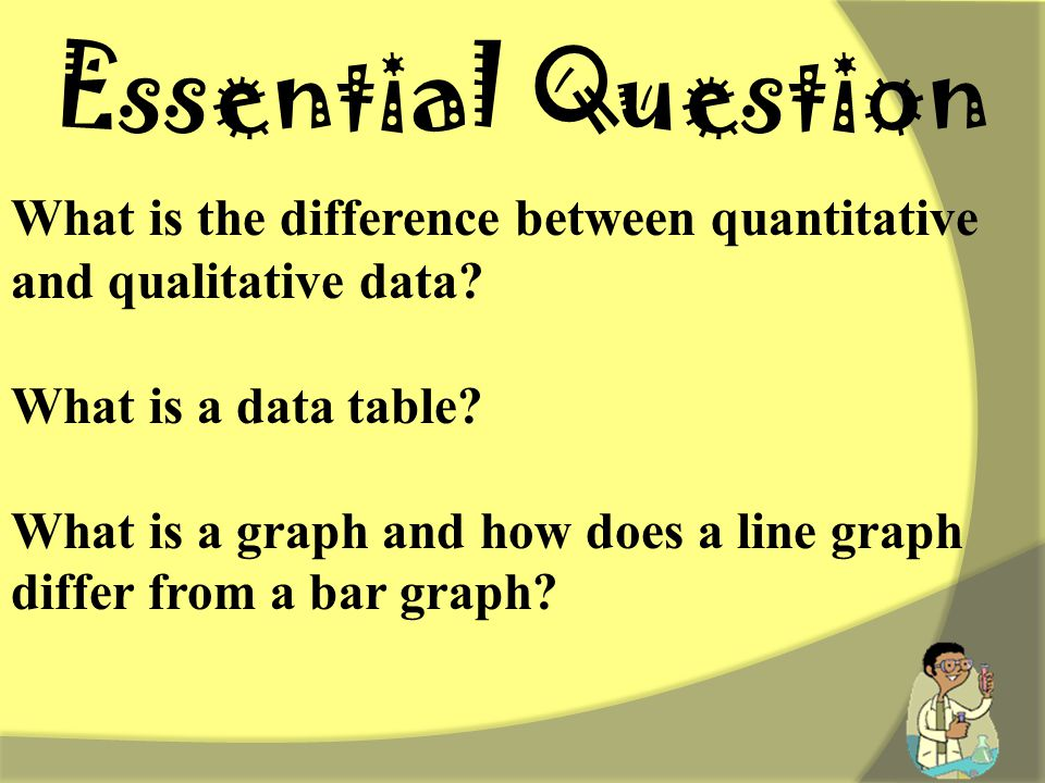 Essential Question What is the difference between quantitative and qualitative data What is a data table