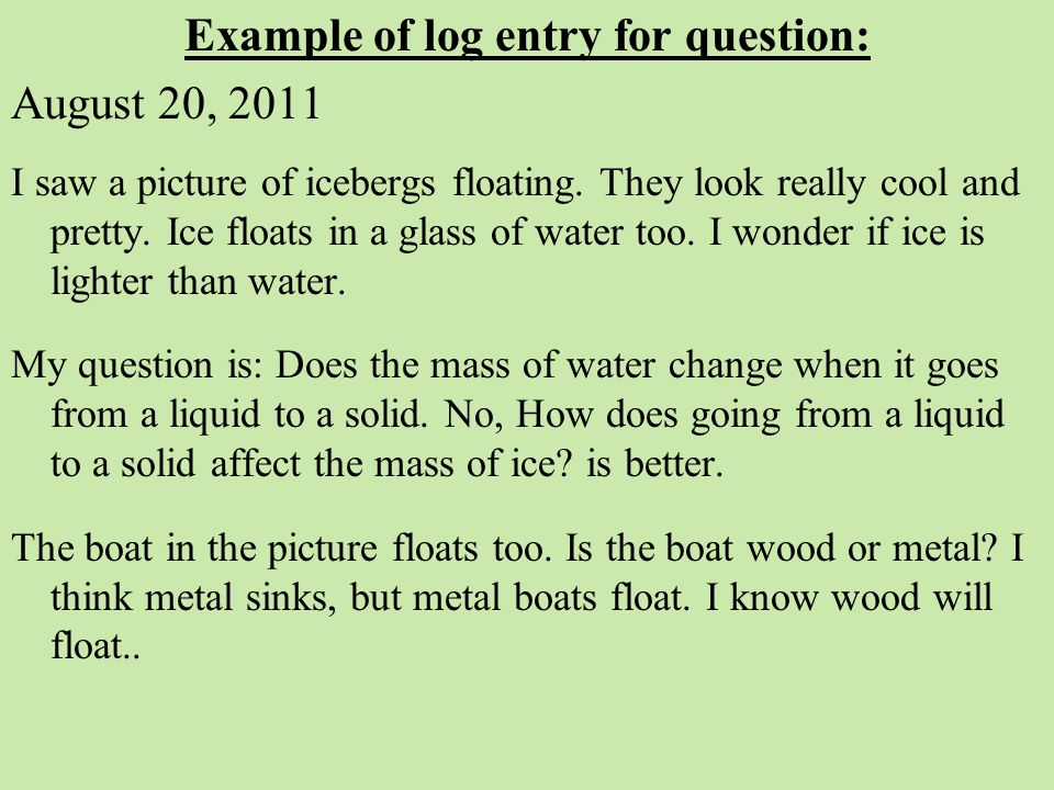 Example of log entry for question: