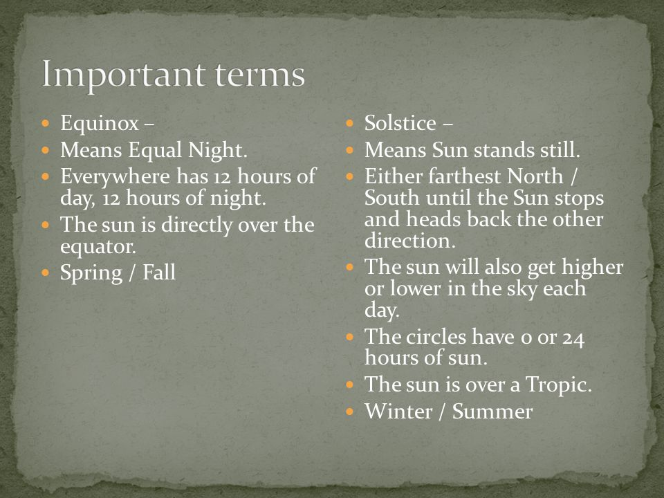 Important terms Equinox – Means Equal Night.