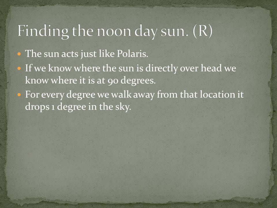 Finding the noon day sun. (R)