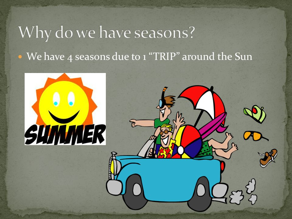 Why do we have seasons We have 4 seasons due to 1 TRIP around the Sun