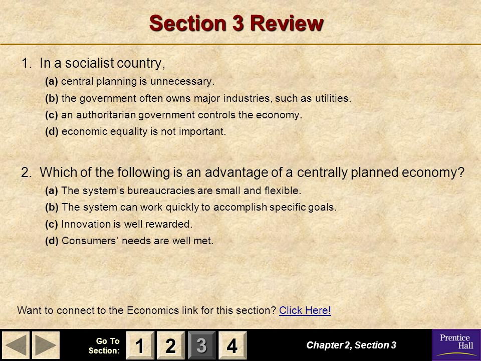 Section 3 Review 1 2 4 1. In a socialist country,