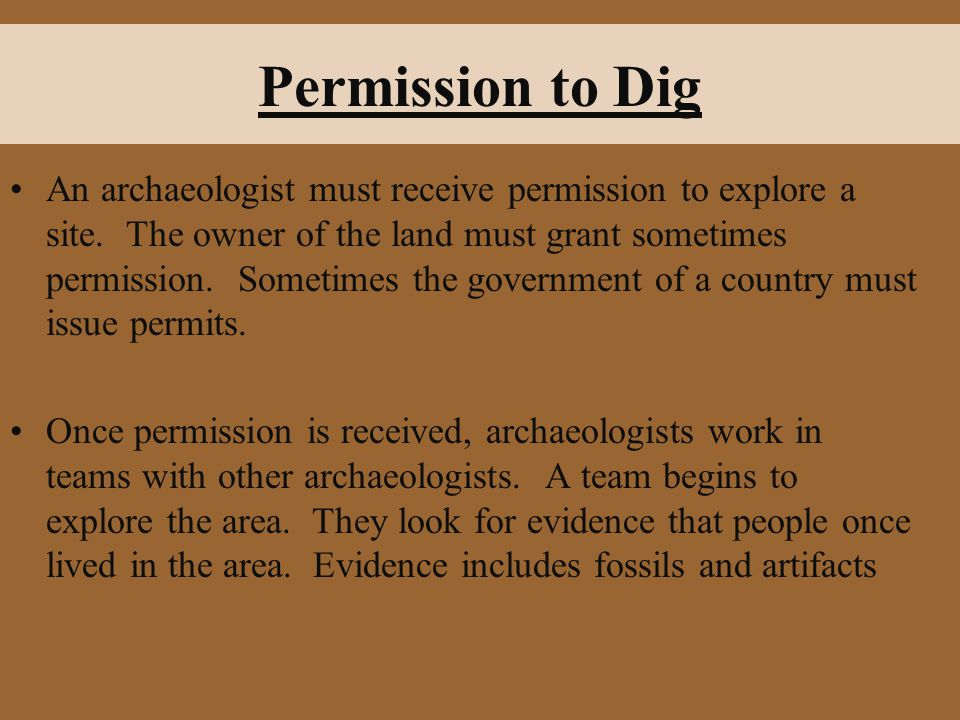 Permission to Dig