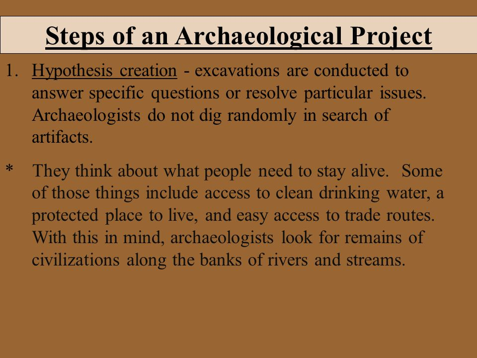 Steps of an Archaeological Project