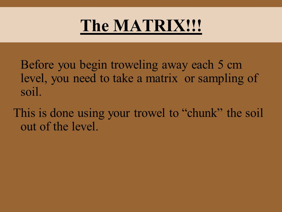 The MATRIX!!! Before you begin troweling away each 5 cm level, you need to take a matrix or sampling of soil.