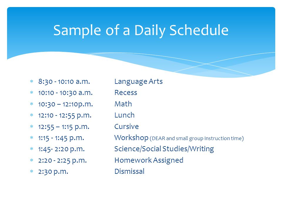 Sample of a Daily Schedule