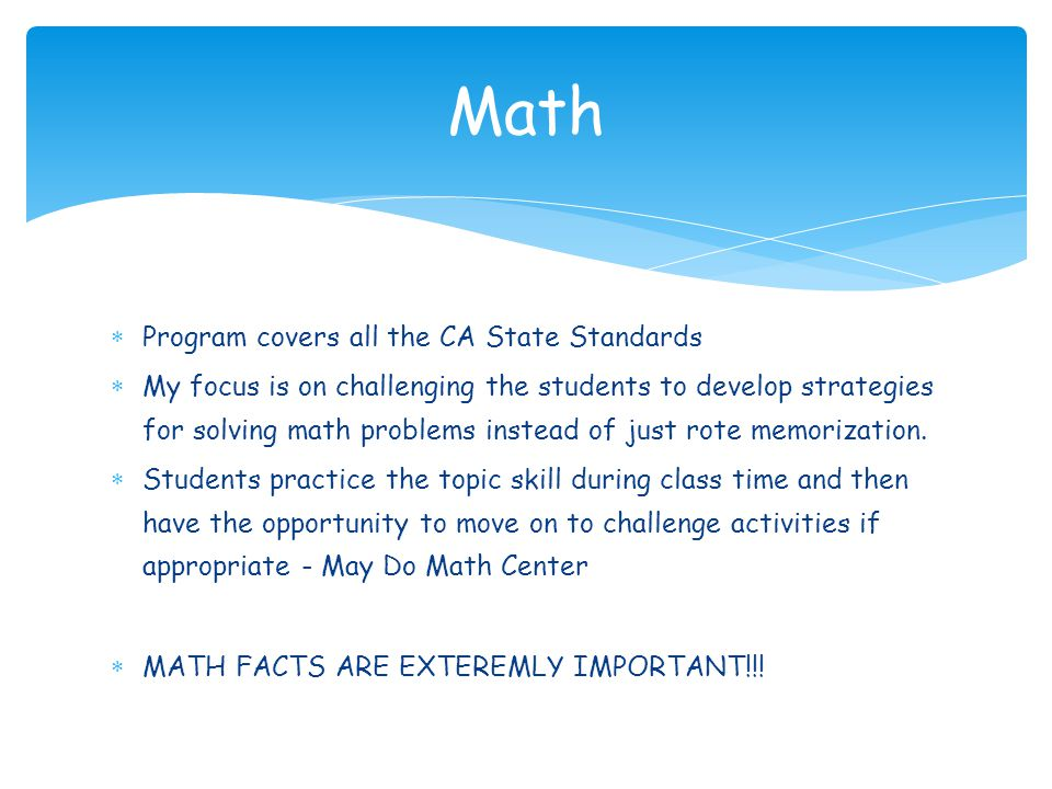 Math Program covers all the CA State Standards