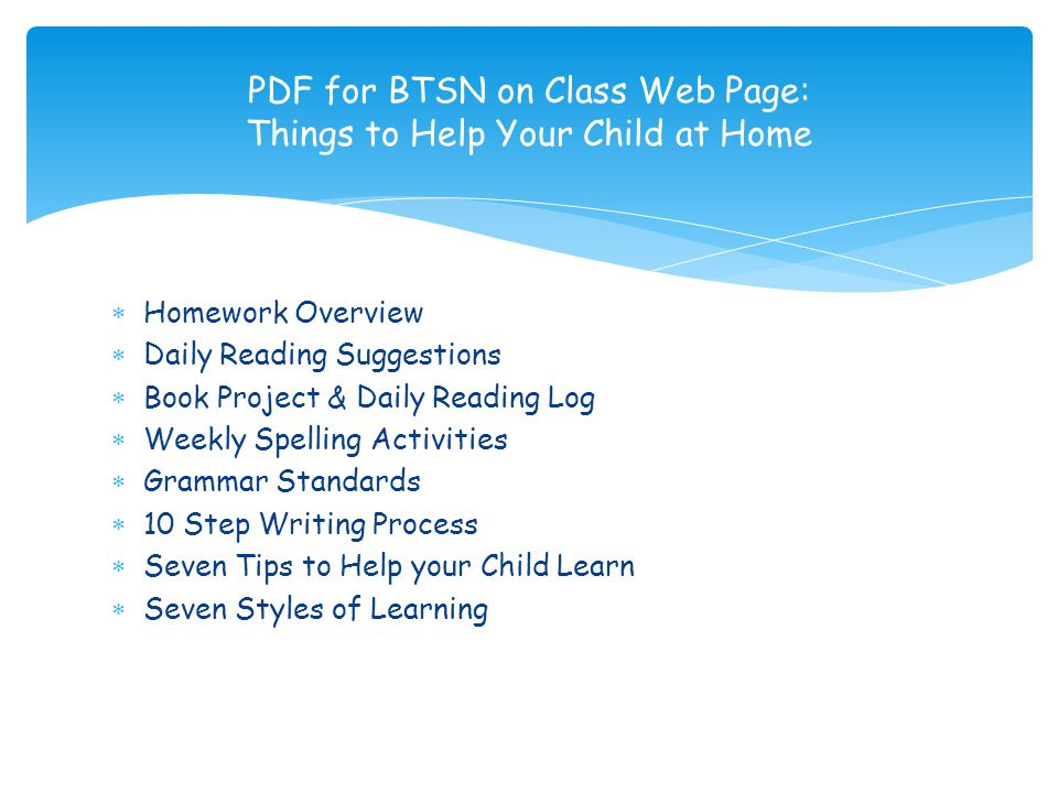 PDF for BTSN on Class Web Page: Things to Help Your Child at Home