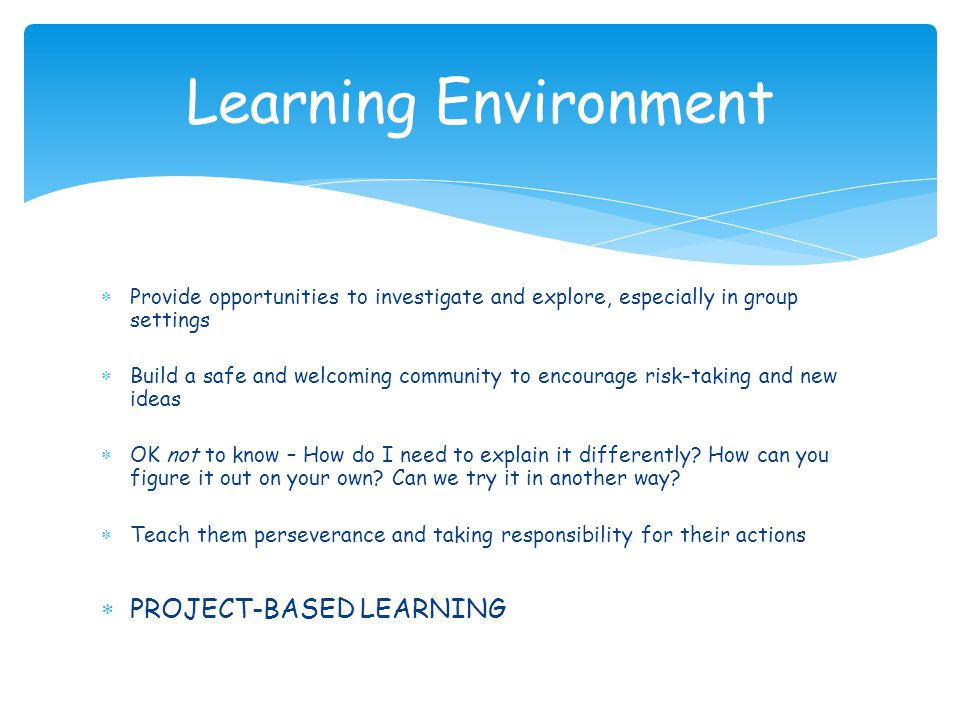 Learning Environment PROJECT-BASED LEARNING