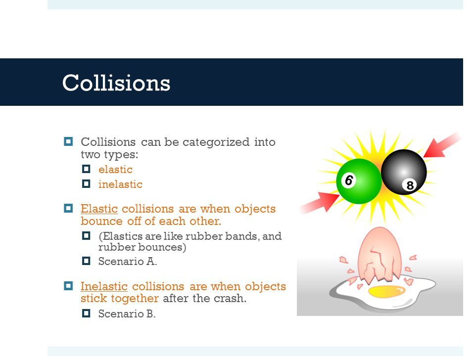 Collisions Collisions can be categorized into two types: