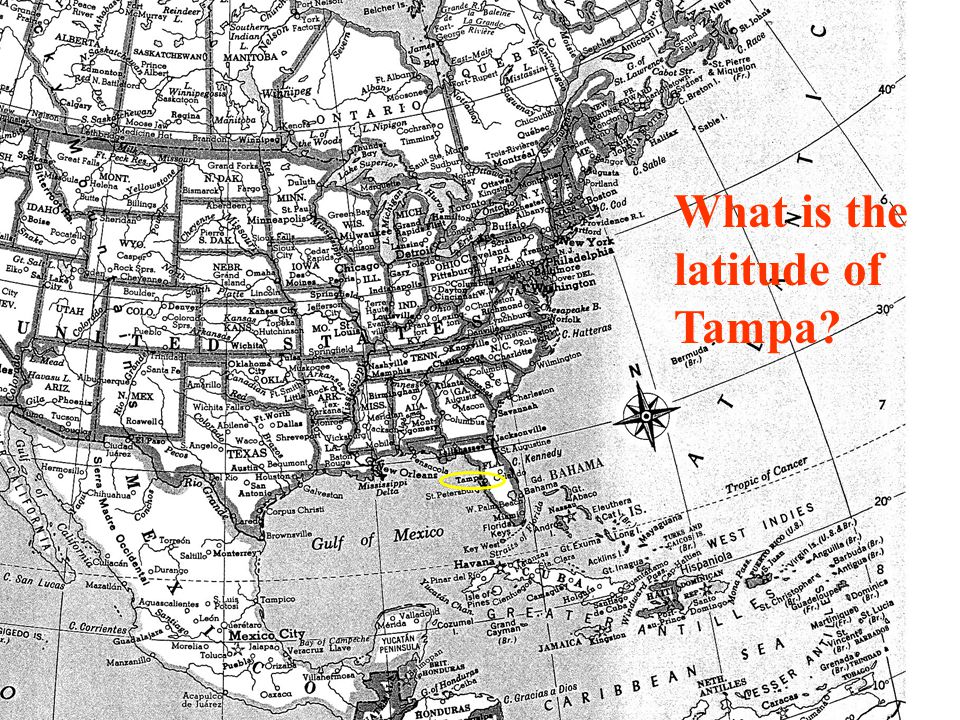 What is the latitude of Tampa