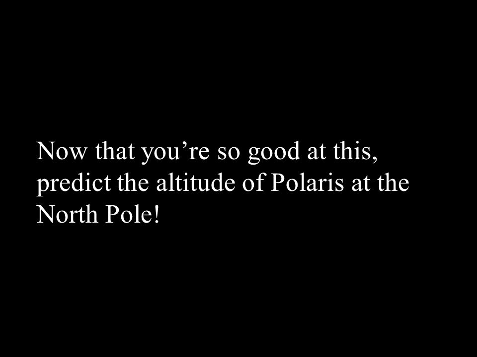 Now that you're so good at this, predict the altitude of Polaris at the North Pole!
