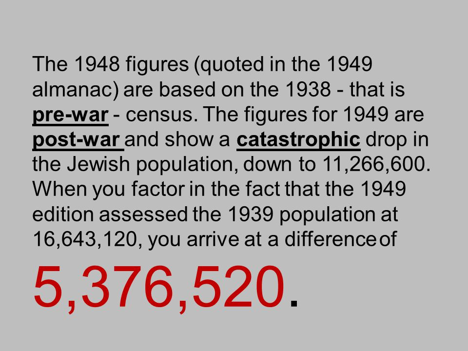 The 1948 figures (quoted in the 1949 almanac) are based on the 1938 - that is pre-war - census. The figures for 1949 are post-war and show a catastrophic drop in the Jewish population, down to 11,266,600. When you factor in the fact that the 1949