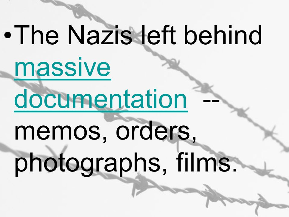 The Nazis left behind massive documentation -- memos, orders, photographs, films.