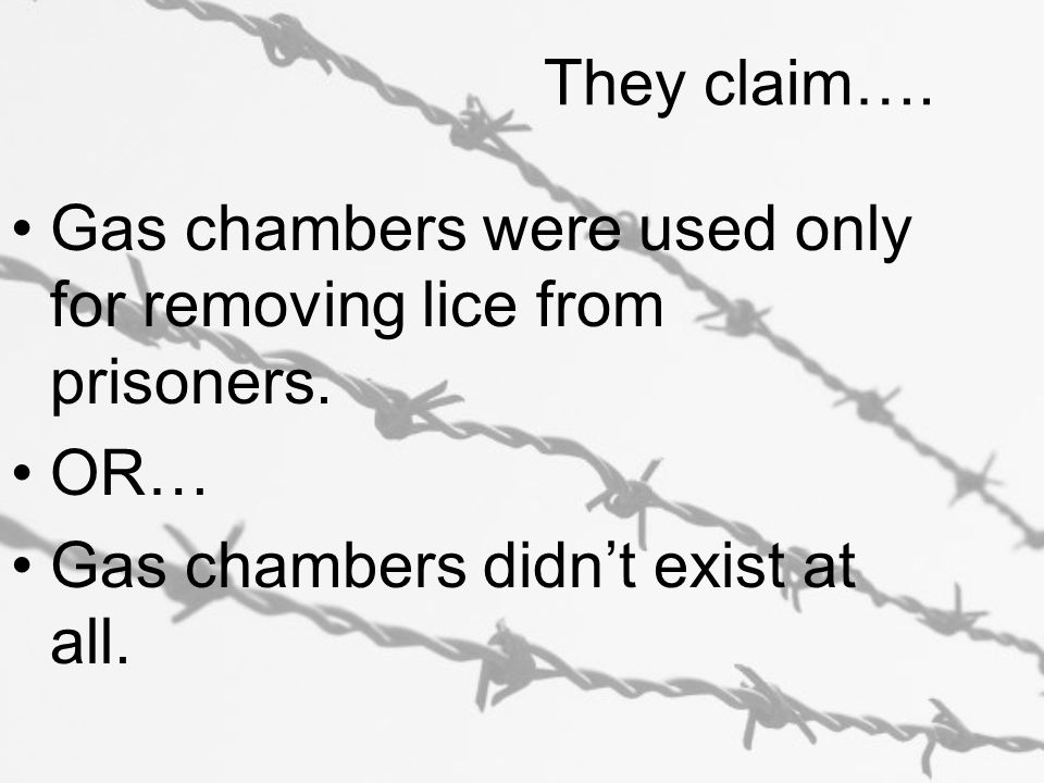 They claim…. Gas chambers were used only for removing lice from prisoners.