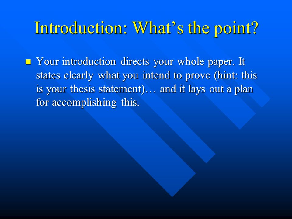 Introduction: What's the point