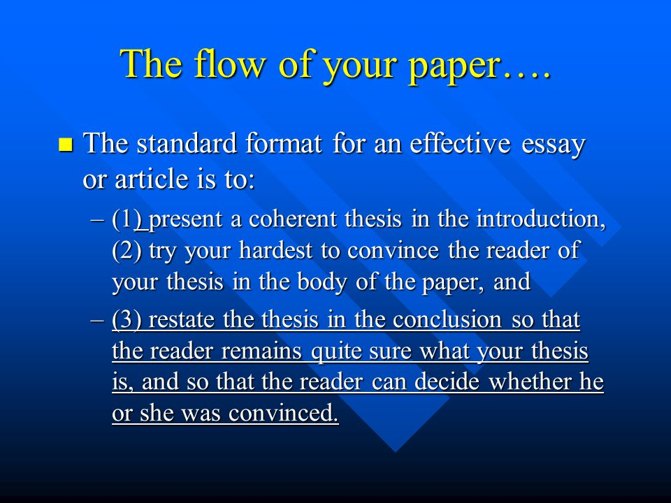 The flow of your paper…. The standard format for an effective essay or article is to: