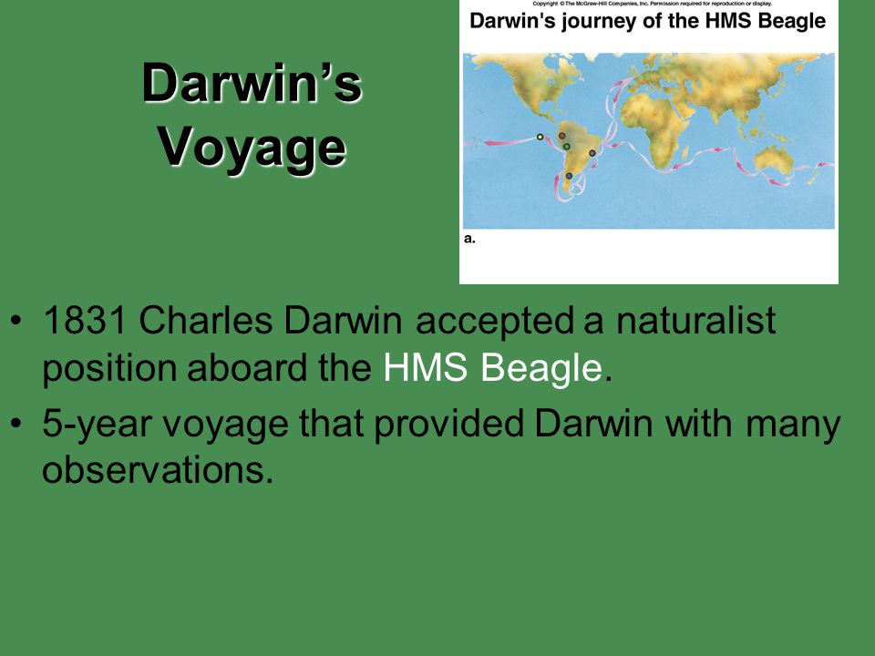 Darwin's Voyage 1831 Charles Darwin accepted a naturalist position aboard the HMS Beagle.