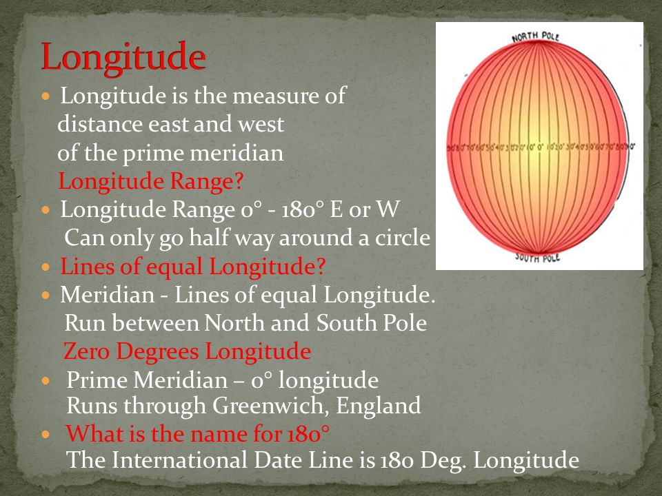 Longitude Longitude is the measure of distance east and west