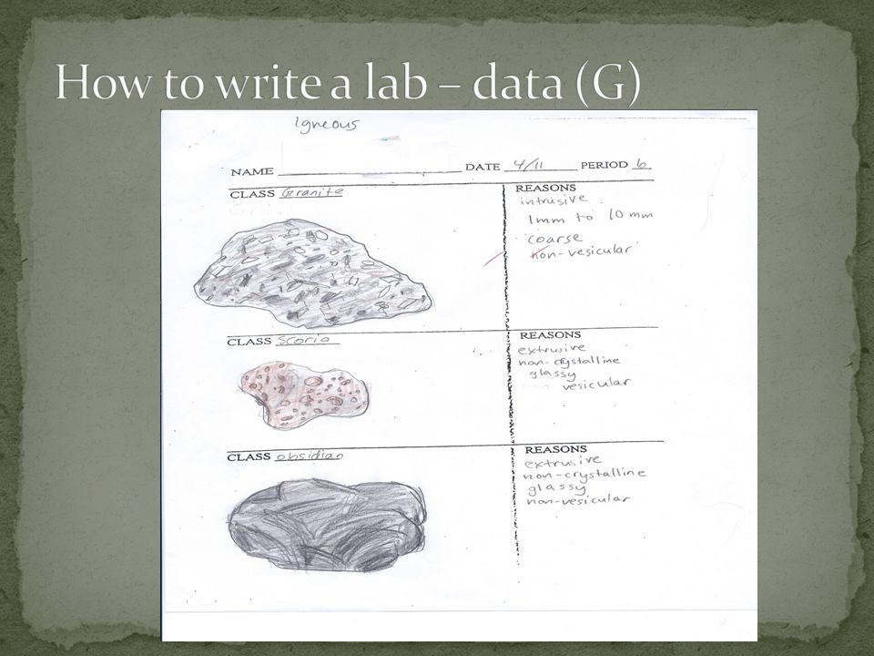 How to write a lab – data (G)