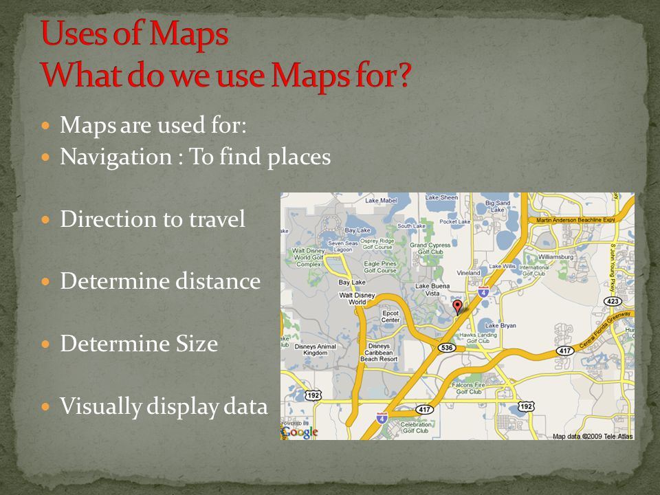 Uses of Maps What do we use Maps for