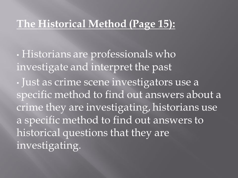 The Historical Method (Page 15):