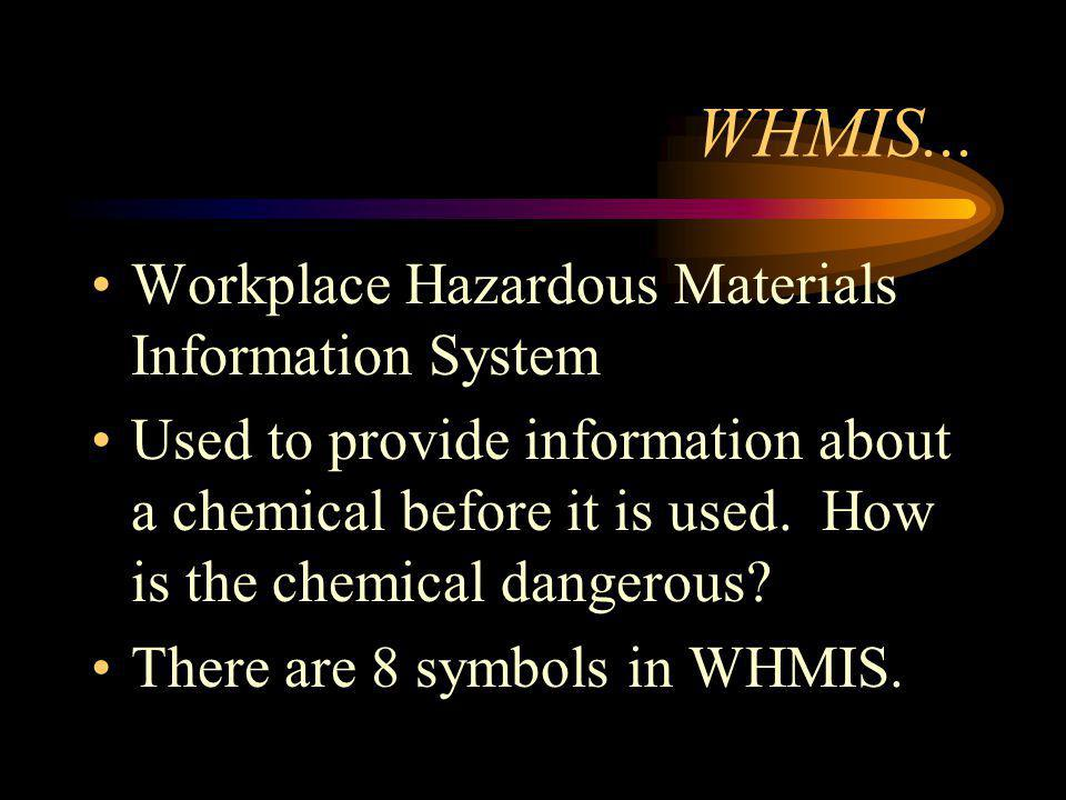 WHMIS... Workplace Hazardous Materials Information System