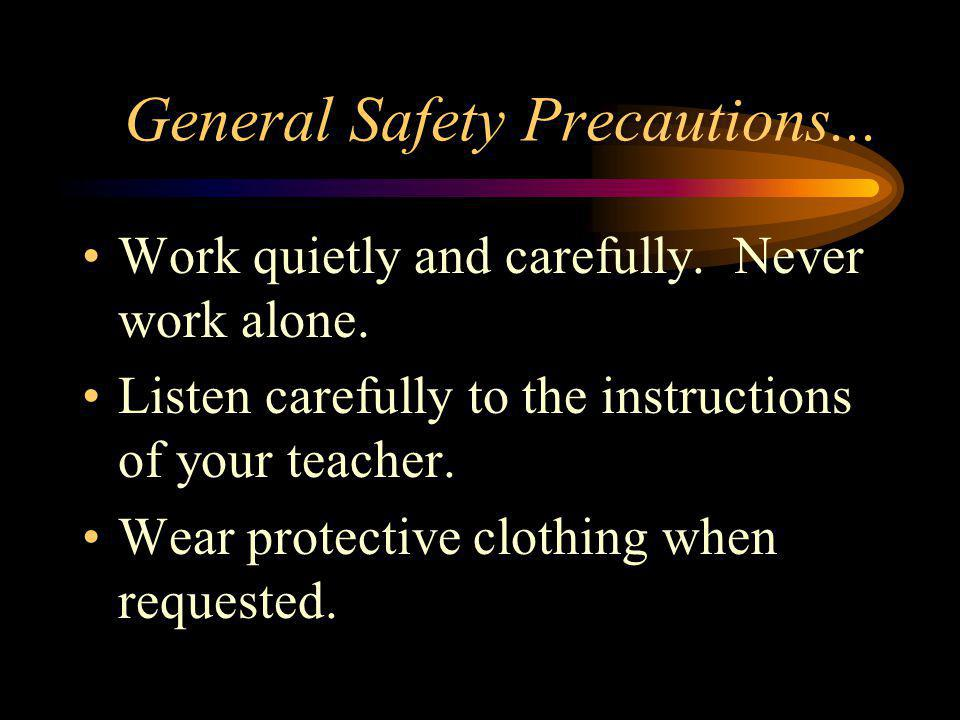 General Safety Precautions...