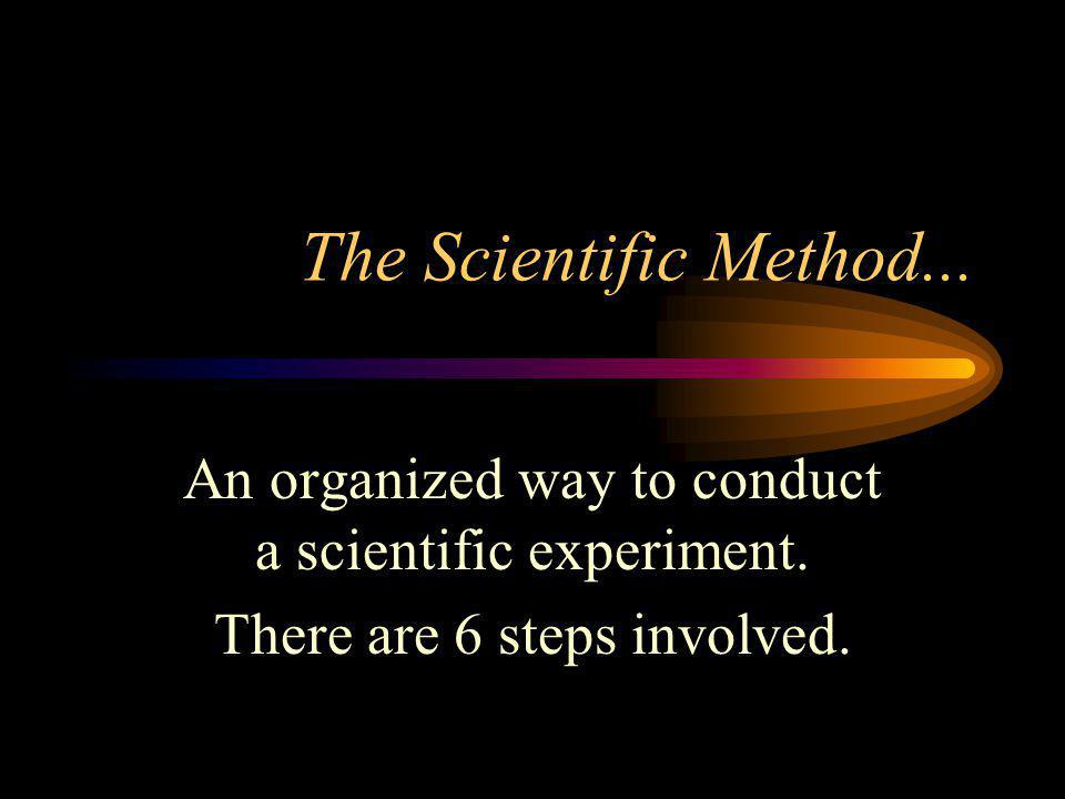 The Scientific Method... An organized way to conduct a scientific experiment.