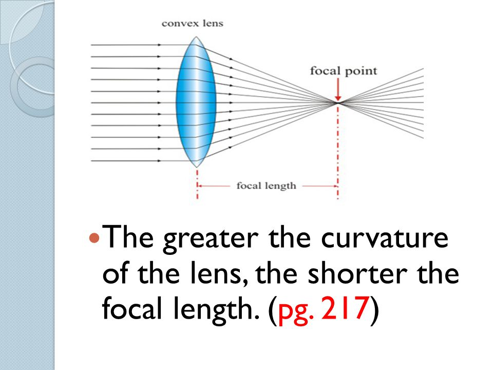 The greater the curvature of the lens, the shorter the focal length