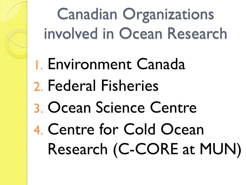 Canadian Organizations involved in Ocean Research