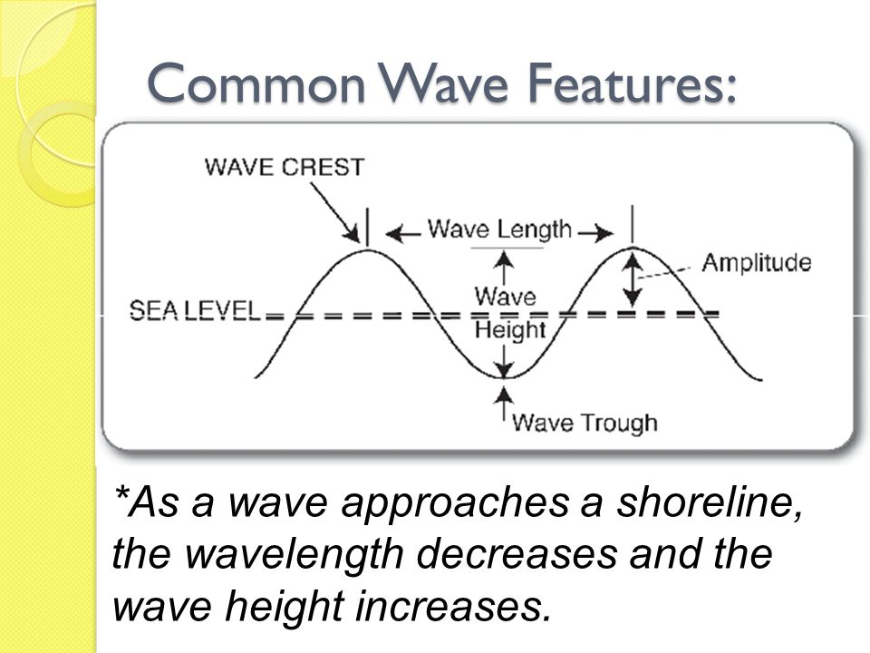 Common Wave Features: *As a wave approaches a shoreline, the wavelength decreases and the wave height increases.