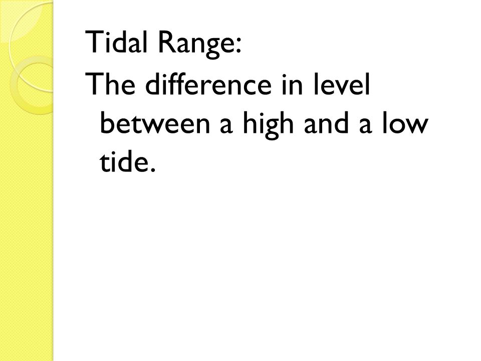 Tidal Range: The difference in level between a high and a low tide.