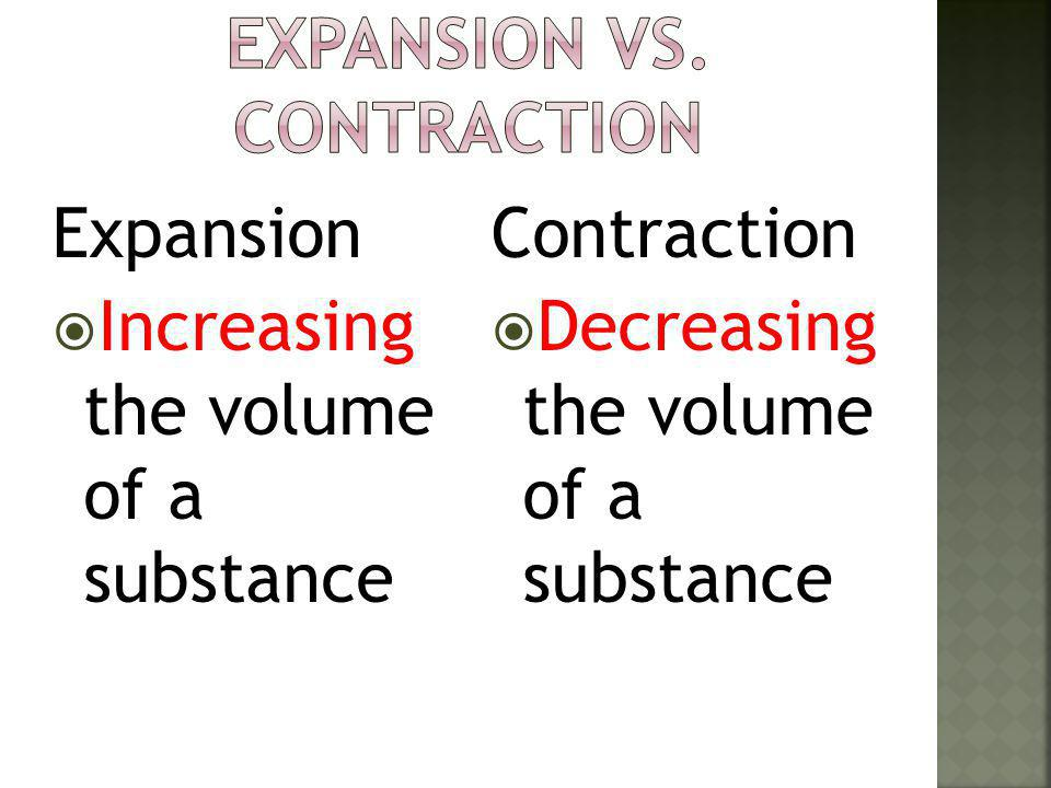 Expansion vs. Contraction