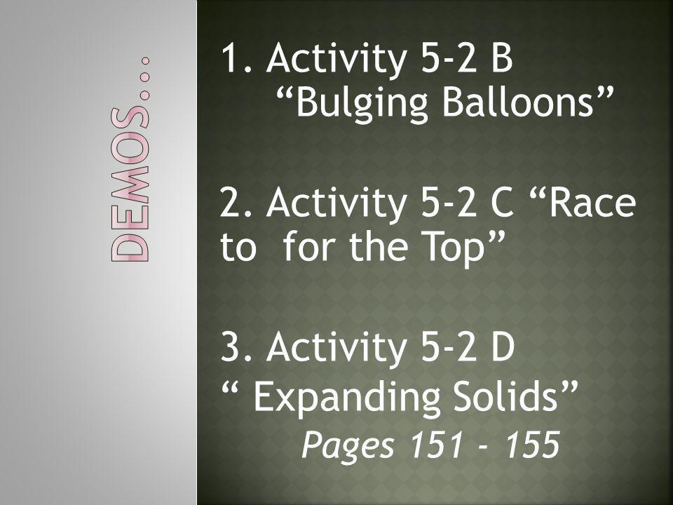 Demos... 1. Activity 5-2 B Bulging Balloons