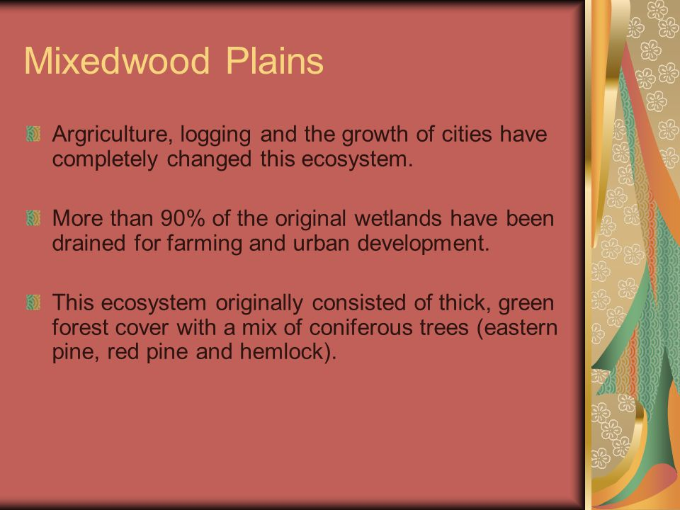 Mixedwood Plains Argriculture, logging and the growth of cities have completely changed this ecosystem.